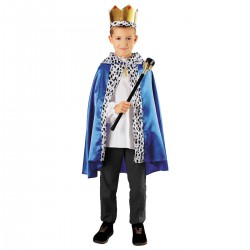 Zestaw Król Niebieski: peleryna, berło, korona