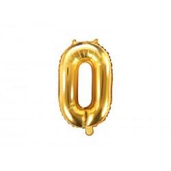 Balon foliowy cyfra 0, złoty, 40cm