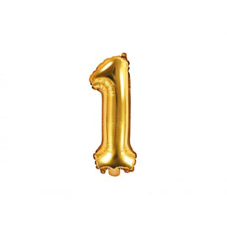 Balon foliowy cyfra 1, złoty, 40cm