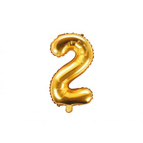 Balon foliowy cyfra 2, złoty, 40cm