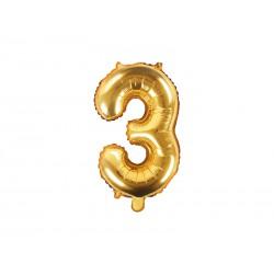 Balon foliowy cyfra 3, złoty, 40cm
