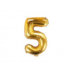 Balon foliowy cyfra 5, złoty, 35cm