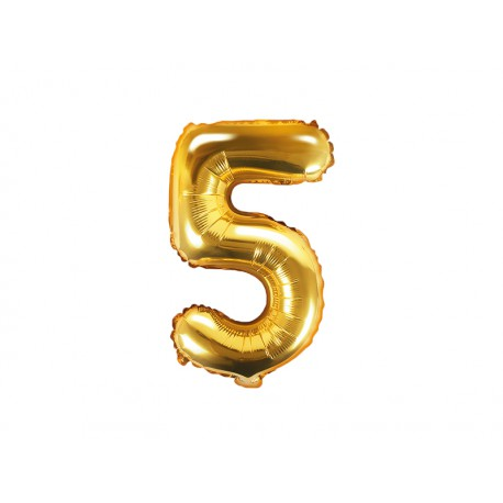 Balon foliowy cyfra 5, złoty, 40cm