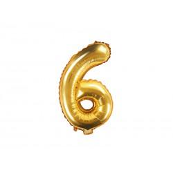 Balon foliowy cyfra 6, złoty, 40cm