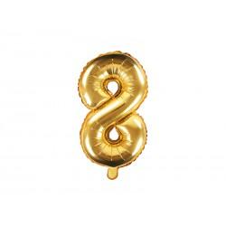 Balon foliowy cyfra 8, złoty, 40cm