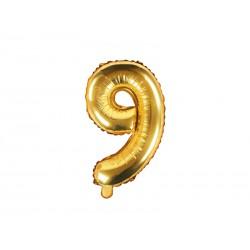 Balon foliowy cyfra 9, złoty, 40cm