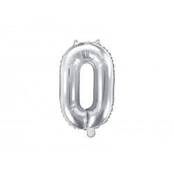 Balon foliowy cyfra 0, srebrny, 40cm