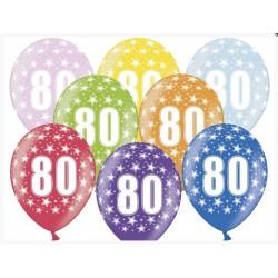 """Balon gumowy 14"""", 80 Urodziny 1szt"""