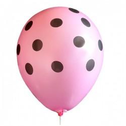 Balon różowy w czarne kropki, 1szt