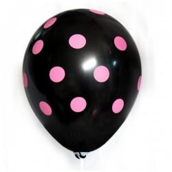 Balon czarny w różowe kropki, 1szt