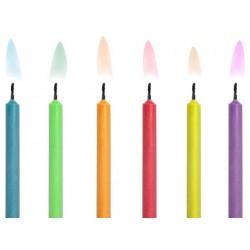 Świeczki urodzinowe, Kolorowe Płomienie, 6szt