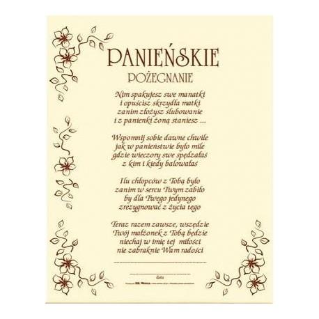 Dyplom Panieńskie pożegnanie z kopertą