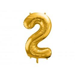 """Balon foliowy 34"""" cyfra 2, złoty 1szt"""