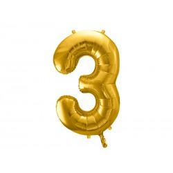 """Balon foliowy 34"""" cyfra 3, złoty 1szt"""