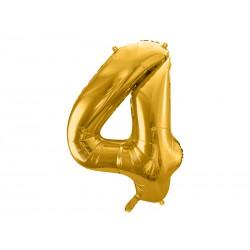 """Balon foliowy 34"""" cyfra 4, złoty 1szt"""