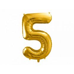 """Balon foliowy 34"""" cyfra 5, złoty 1szt"""