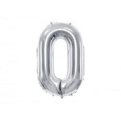 "Balon foliowy 34"" cyfra 0, srebrny 1szt"