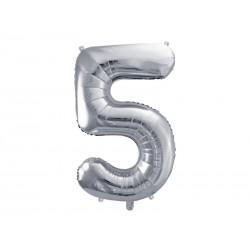 "Balon foliowy 34"" cyfra 5, srebrny 1szt"