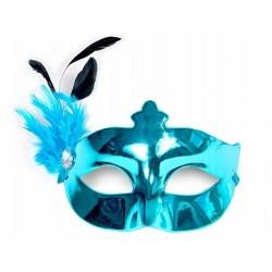 Maska Party z piórkiem, turkusowa