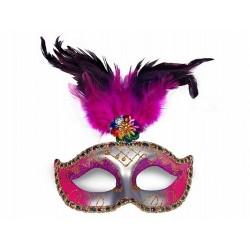 Maska Party z piórami, srebrna, różowa