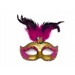 Maska Party z piórami złota, żółta
