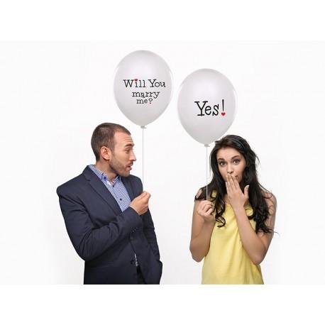 """Balon 14"""" Will you, Pastel White, 1szt"""