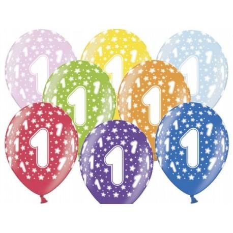 """Balon  gumowy 14"""", 1 Urodziny, 1szt."""