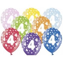 """Balon gumowy 14"""" 4 urodziny, 1szt,"""