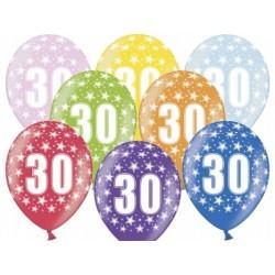 """Balon gumowy 30cm 14"""" 30 Urodziny, 1szt."""