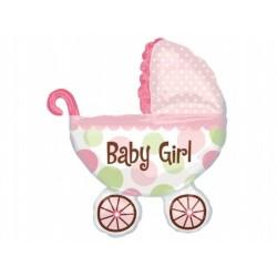"""Balon foliowy 28 x 31"""", Wózek Baby Girl"""