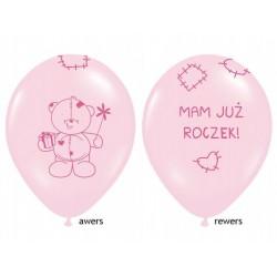 """Balon gumowy 30cm 14"""" Miś mam już roczek, różowy 1szt."""