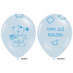 """Balon gumowy 30cm 14"""", Miś mam już roczek,  błękitny 1szt."""