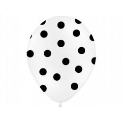 """Balon gumowy 14"""" biały w czarne kropki, 1szt."""