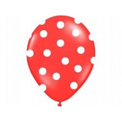 """Balon gumowy 14"""" czerwony w białe """"Kropki"""", 1szt."""
