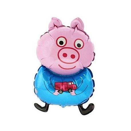 Balon foliowy Świnka z niebieską bluzką 80x47
