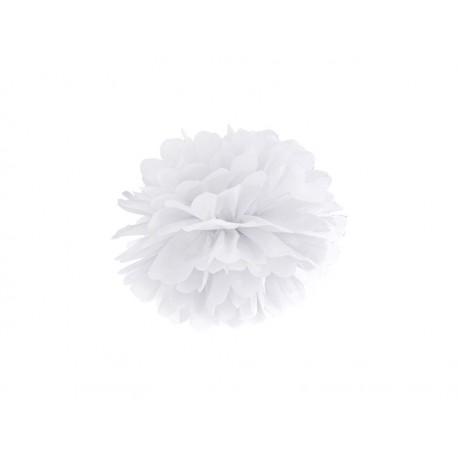 Pompon papierowy biały, 25 cm