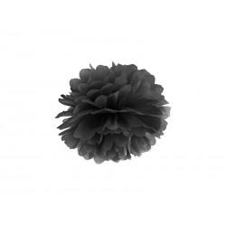 Pompon papierowy czarny, 25cm