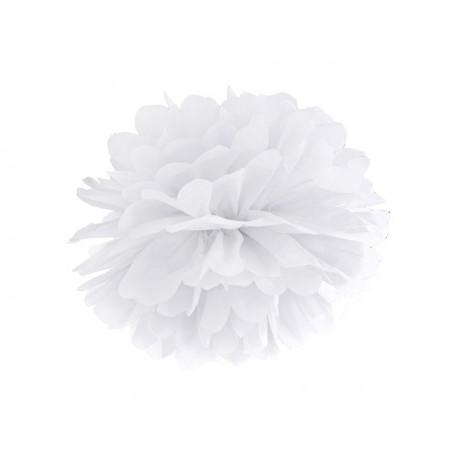 Pompon papierowy biały, 35 cm