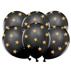 """Balony gumowe 30cm 14"""" Gwiazdki, Pastel Black, 5szt"""