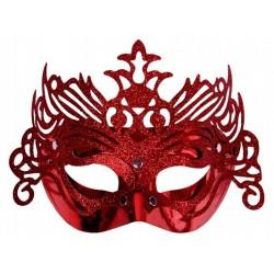 Maska na oczy, czerwona z ornamentem