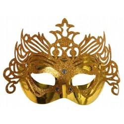 Maska na oczy, złota z ornamentem