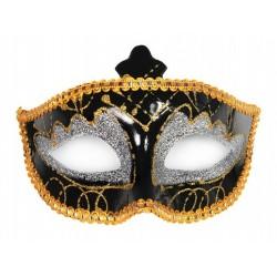 Maska na oczy, pełna czarna z brokatem