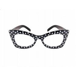 Okulary Czarne w kropki białe, 1szt
