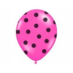 """Balon gumowy 14"""", różowy w czarne kropki , 1szt."""