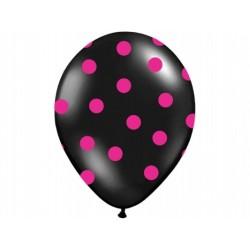 """Balon gumowy 14"""" czarny w różowe kropki , 1szt."""