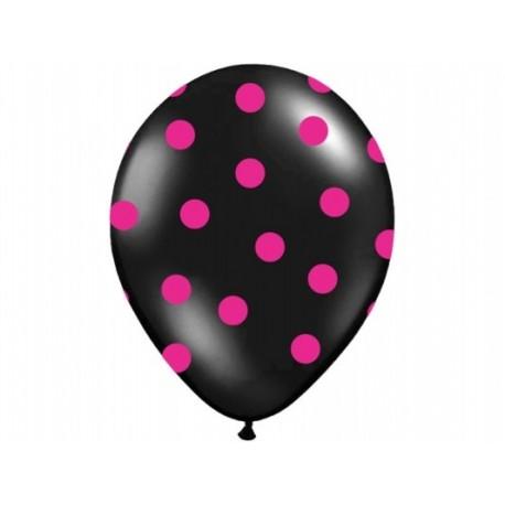Balony czarne w różowe kropki , 1szt.