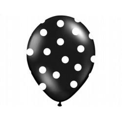 Balony czarne w białe kropki , 1szt.