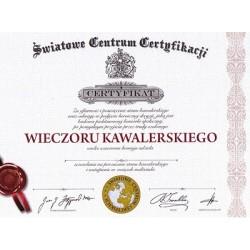 Certyfikat dyplom Wieczoru Kawalerskiego