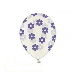 "Balon gumowy 14"" Kwiatki Crystal fiolet, 1szt"