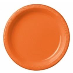Talerzyki plastikowe pomarańczwe 18cm (10szt.)
